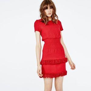 Make Red Tabata Tweed Fringe Dress Sz 1